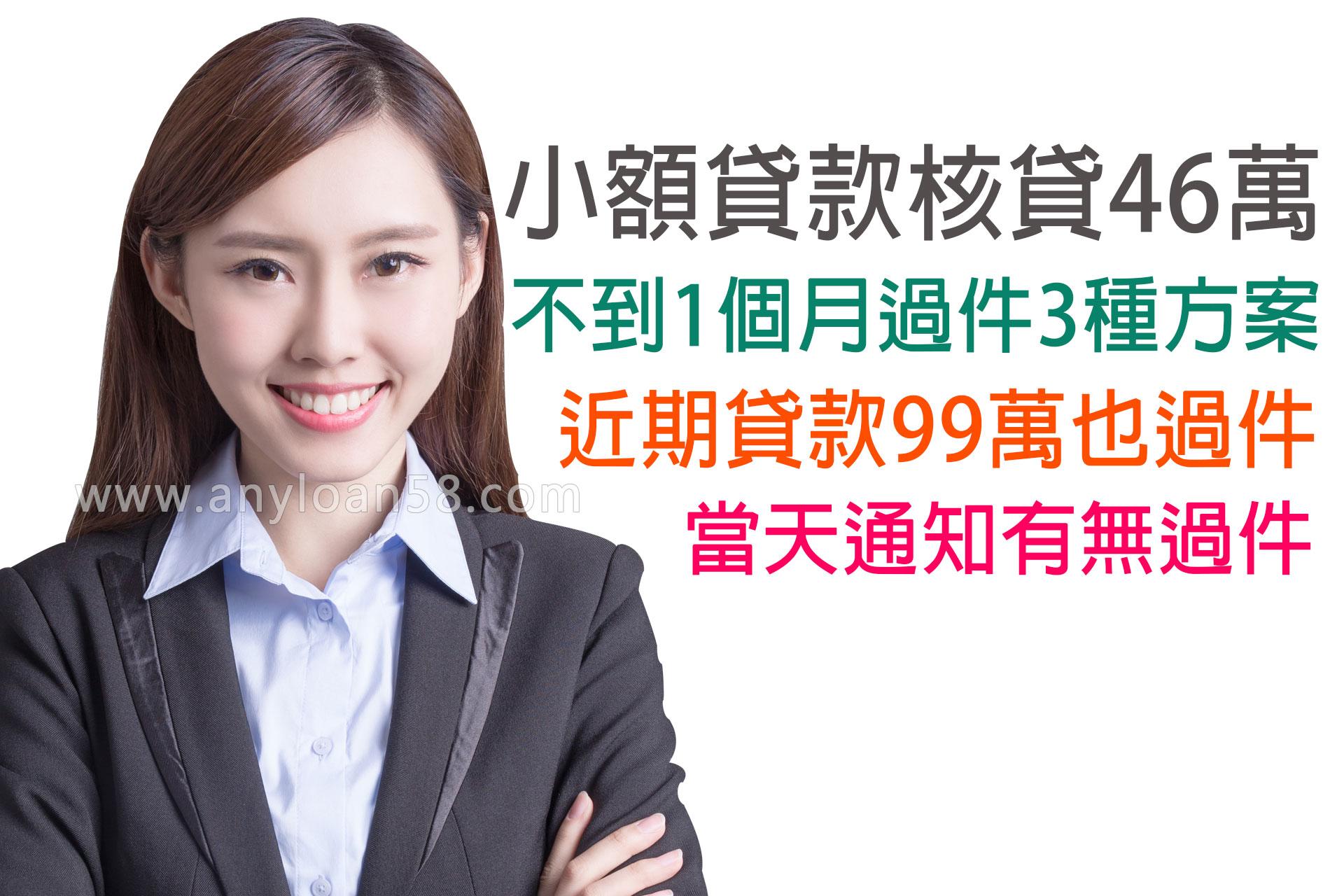 小額貸款1個月內核貸3種方案,銀行退件竟核貸46萬!